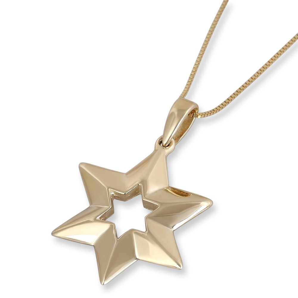 necklace of l david diamond magen star rolo gold on dipped pendant necklaces
