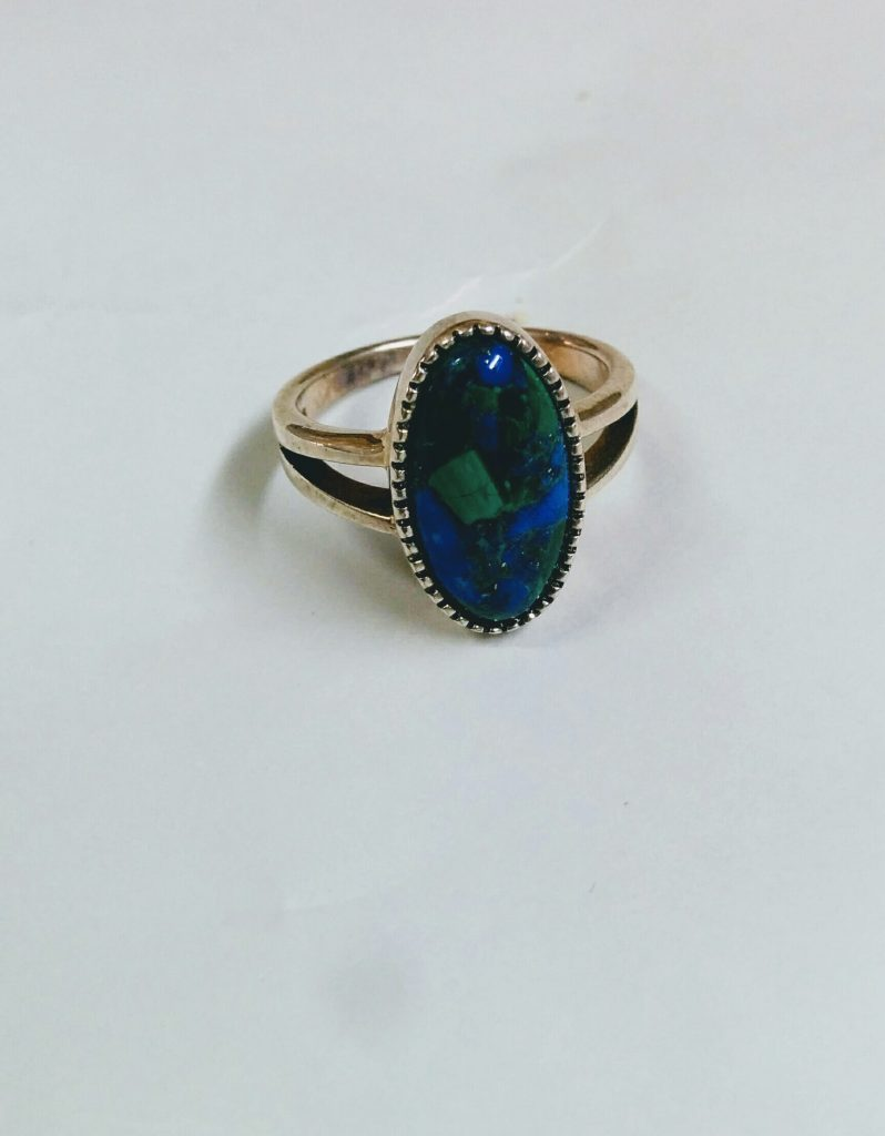 Eilat Stone Sterling Silver Oval Ring Israel Jewelry