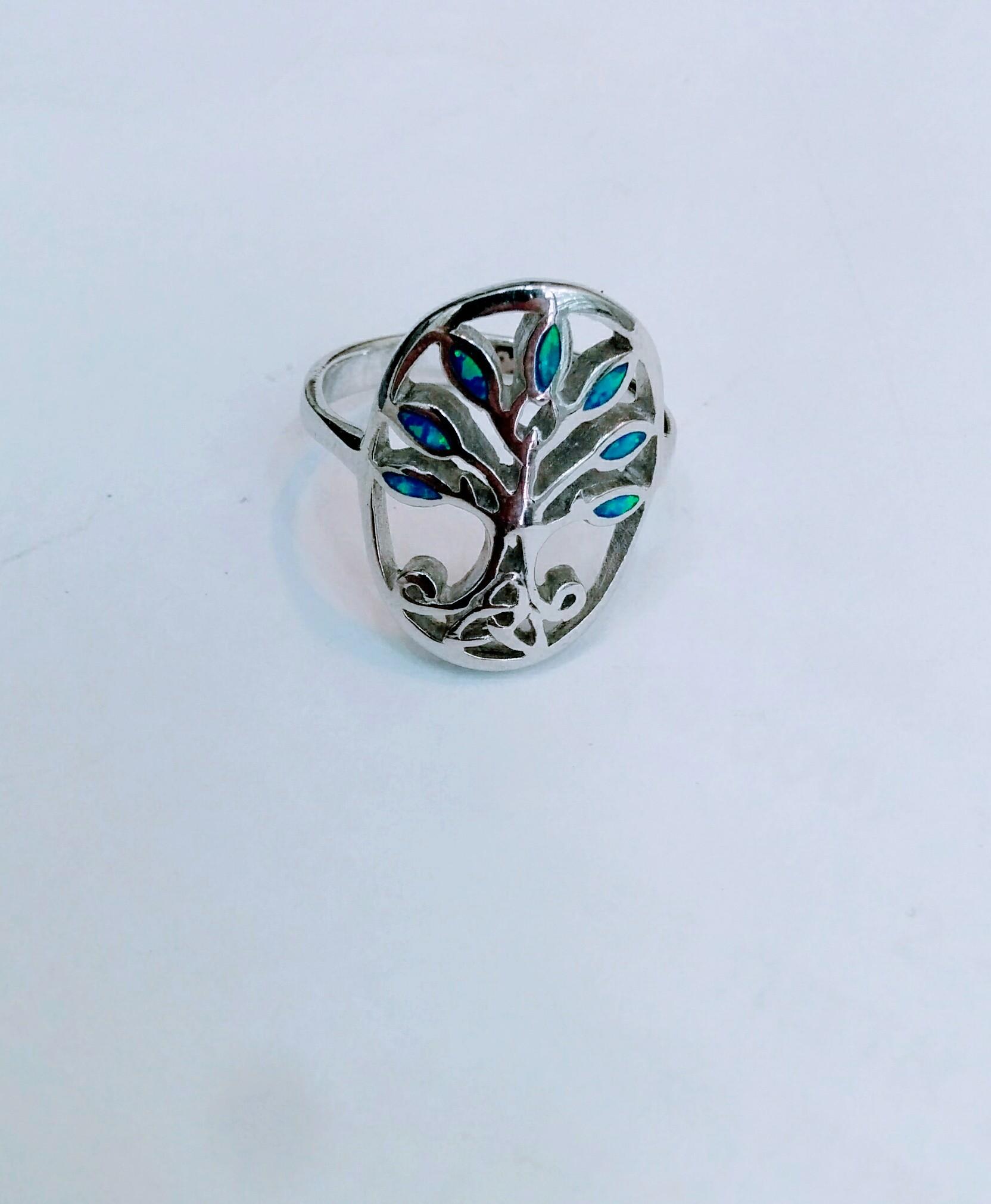 Tree Of Life Sterling Silver Blue Opal Oval Ring Israel Jewelry Jerusalem Jeweler