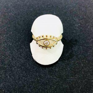 evil eye gold and diamond ring for women,